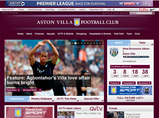 Official Aston Villa Football Club Website
